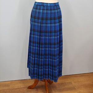 Vintage PENDLETON Blue Plaid Wool Skirt Size 12